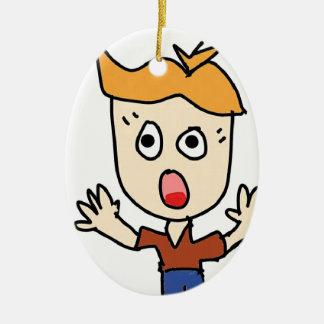 de enge jongenscartoon keramisch ovaal ornament