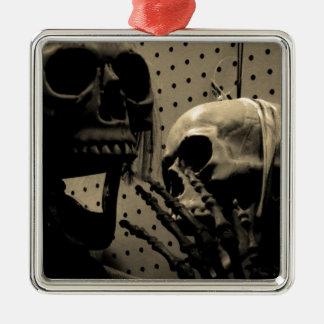 De enge Punten van het Skelet Zilverkleurig Vierkant Ornament