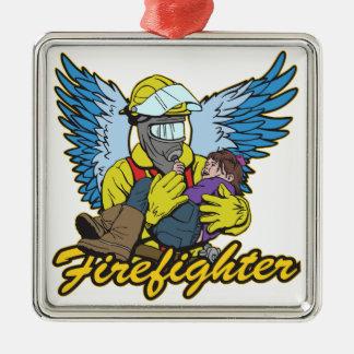 De Engel van de brandbestrijder Zilverkleurig Vierkant Ornament