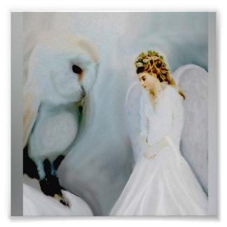 De Engel van de sneeuw en Witte Uil Foto Afdrukken