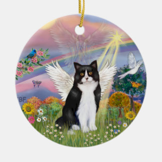 De Engel van de wolk - de Zwarte & Witte Engel van Rond Keramisch Ornament