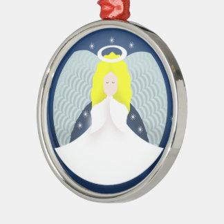 De Engel van Kerstmis met Vleugels Zilverkleurig Rond Ornament