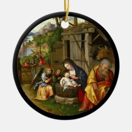 De Engelen c1515 van de geboorte van Christus en Rond Keramisch Ornament