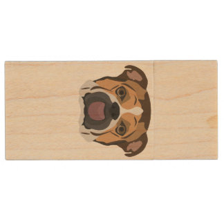 De Engelse Buldog van de illustratie Houten USB Stick