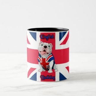 De Engelse Buldog van Union Jack Tweekleurige Koffiemok