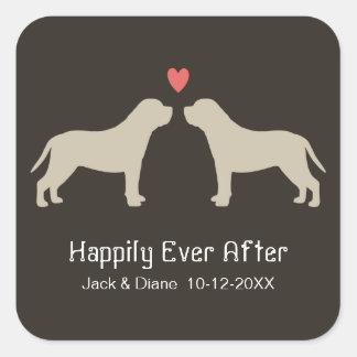 De Engelse Silhouetten van de Mastiff met de Tekst Vierkante Sticker