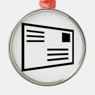 De envelopbriefkaart van de brief zilverkleurig rond ornament