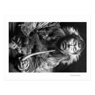 De Eskimo Rokende Foto van Alaska van de Pijp Briefkaart