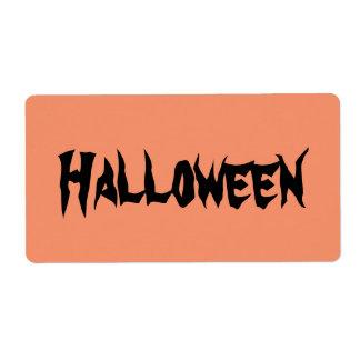 De Etiketten van Halloween met Zwarte Teksten op