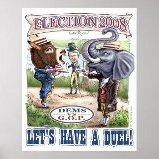 De Ezel van DEM versus de Druk van de Olifant GOP Poster