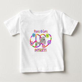 De Ezels van de Liefde van de vrede Baby T Shirts
