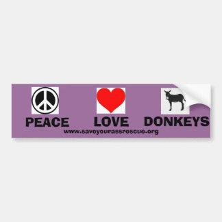 De Ezels van de Liefde van de vrede Bumpersticker