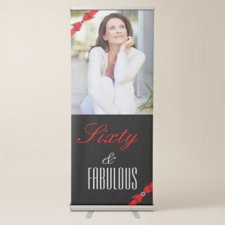De fabelachtige Rode Zwarte Elegante Verjaardag Roll-up Banner