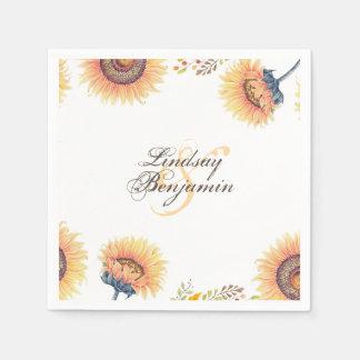 De fabelachtige Zonnebloem komt Rustiek Huwelijk Papieren Servetten