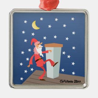 """De facultatieve Grappige Kerstman """"voeg van de Zilverkleurig Vierkant Ornament"""