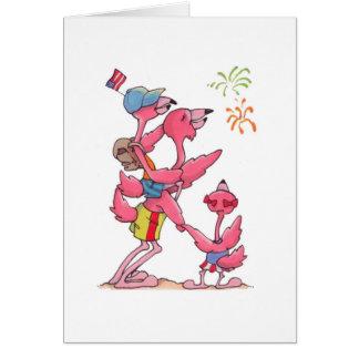 De Familie 4 Juli Notecard van de flamingo Notitiekaart