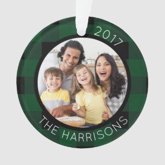 De FAMILIE de Groene/Zwarte van de Plaid 2-foto IS Ornament