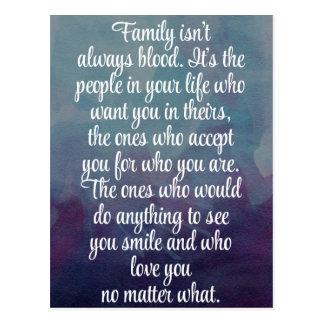 De familie is niet altijd het Citaat van het Bloed Briefkaart