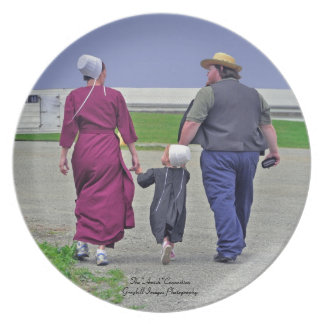 De Familie van Amish Melamine+bord