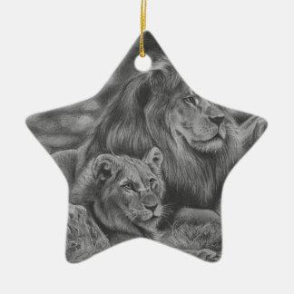 De familie van de leeuw keramisch ster ornament