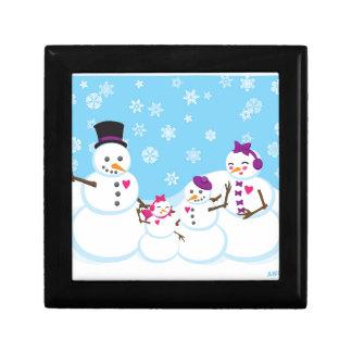 De Familie van de Sneeuw van de winter Decoratiedoosje