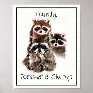 De Familie van de Wasberen van de waterverf voor Poster