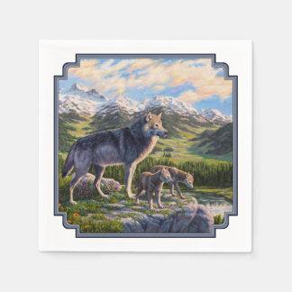 De Familie van de wolf en de Vallei van de Rivier Papieren Servet