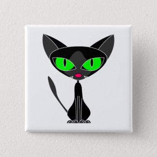 De fancy Katachtige Zwarte Knoop van de Kat Vierkante Button 5,1 Cm