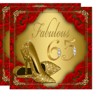 De fancy Rode Gouden Hoge Fabelachtige 65ste 13,3x13,3 Vierkante Uitnodiging Kaart