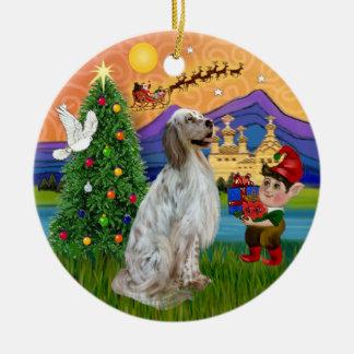 De Fantasie van Kerstmis - Engelse Zetter Rond Keramisch Ornament