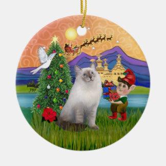 De Fantasie van Kerstmis - kat Ragdoll (blauw Rond Keramisch Ornament