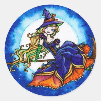De Fee van de Fantasie van Halloween van de Heks Ronde Sticker