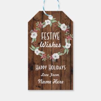 De feestelijke Gift etiketteert Vrolijke Kerstmis Cadeaulabel