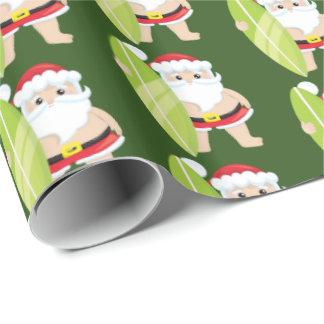 De feestelijke het Surfen van Kerstmis Kerstman Inpakpapier