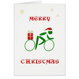 De fietser brengende gift van Kerstmis Kaart
