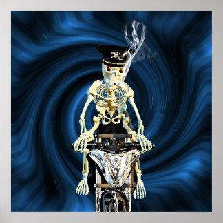 De fietser die van het skelet een sigaret roken poster