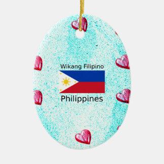 De Filipijnse Taal van Wikang en de Vlag van Keramisch Ovaal Ornament