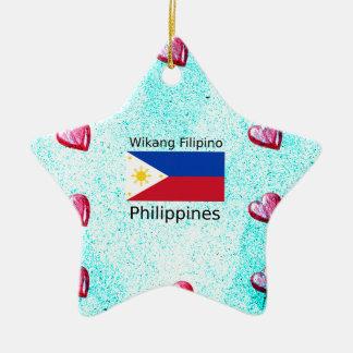 De Filipijnse Taal van Wikang en de Vlag van Keramisch Ster Ornament