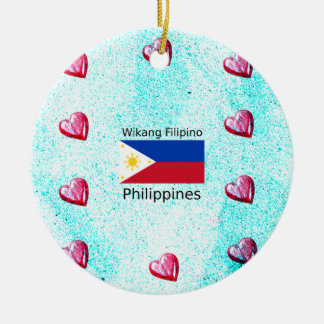 De Filipijnse Taal van Wikang en de Vlag van Rond Keramisch Ornament