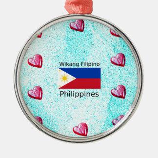 De Filipijnse Taal van Wikang en de Vlag van Zilverkleurig Rond Ornament