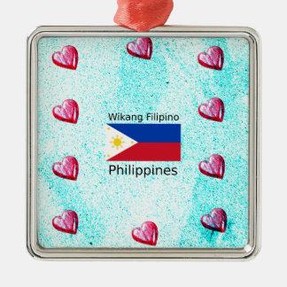 De Filipijnse Taal van Wikang en de Vlag van Zilverkleurig Vierkant Ornament