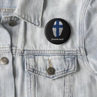 De finse vlag van de aanrakingsvingerafdruk ronde button 5,7 cm