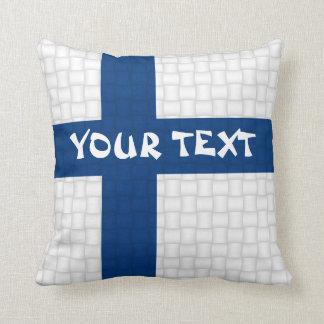 De Finse vlag van Finland: VOEG TEKST TOE Sierkussen