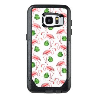 De flamingo's dansen Wit Patroon OtterBox Samsung Galaxy S7 Edge Hoesje