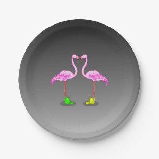 De Flamingo's die van de cartoon de Kleurrijke Papieren Bordje