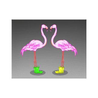 De Flamingo's die van de cartoon de Kleurrijke Stretched Canvas Print