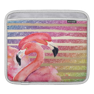 De Flamingo's van de waterverf schitteren Gouden Beschermhoes Voor iPad