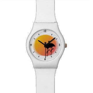 De Flamingo's van de zonsondergang Horloge