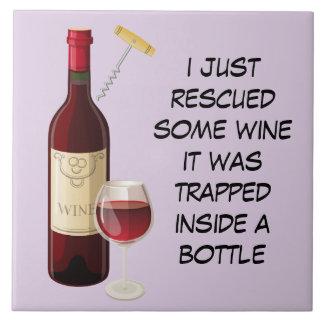 De fles van de wijn en glasillustratie tegeltje
