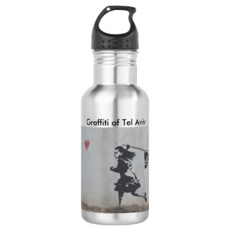 De fles van het water met graffiti van meisje die